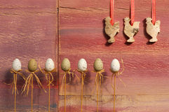 Happy Easter Eggs on Sticks Copy Space Stock Image