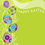 Happy Easter Eggs Swirls and Flowers Background Stock Images