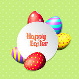 Happy Easter eggs and text on colored background with frame vector illustration. Happy Easter collection. Colorful eggs frame and text on white background royalty free illustration