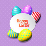 Happy Easter eggs and text on colored background with frame vector illustration. Happy Easter collection. Colorful eggs frame and text on white background stock illustration