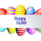Happy Easter eggs and text on colored background with frame vector illustration. Happy Easter collection. Colorful eggs frame and text on white background vector illustration