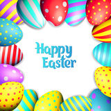 Happy Easter eggs and text on colored background with frame vector illustration Royalty Free Stock Photography