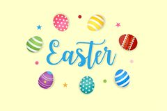 Happy Easter Eggs Vector Vector Illustration Yellow Background Royalty Free Stock Images