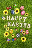 Happy easter eggs vertical Stock Photos
