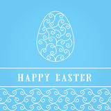 Happy Easter Eggs white on a blue. Easter banner background template with white contour  eggs. Vector illustration. EPS10 Royalty Free Stock Photography