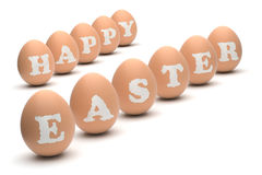 Happy Easter Eggs. Happy Easter words engraved on hen's eggs. Clipping paths included Stock Images
