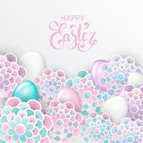Happy Easter elegant floral background with 3d paper flowers. Eggs and place for text. Spring easter greeting card. Origami trendy design template. Paper cut vector illustration