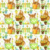 Happy Easter. Easter bunny seamless pattern vector illustration