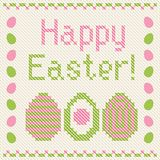 Happy Easter embroidery cross-stitch greeting card Stock Photo