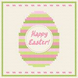 Happy Easter embroidery cross-stitch greeting card Royalty Free Stock Images