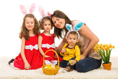 Happy easter family Stock Images