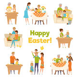 Happy Easter Family Set. Family easter big set with flat cartoon characters of happy celebrating parents with children and grandparents vector illustration Stock Photo