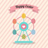Happy Easter Ferris Wheel with colorful Decorated Easter Eggs ve. Easter Ferris Wheel with colorful Decorated Easter Eggs  illustration flat design for Easter Royalty Free Stock Photos