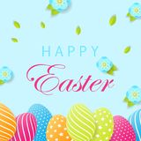 Happy Easter festive card. Easter card with egg. Creative 3D egg. S with pattern. Vector illustration Royalty Free Stock Photography