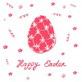Happy Easter - festive card with floral elements and egg silhoue. Tte. Vector illustration Stock Image