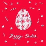 Happy Easter - festive card with floral elements and egg silhoue. Tte. Vector Royalty Free Stock Image
