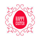 Happy Easter - festive card with floral line elements and egg si. Lhouette. Vector illustration Royalty Free Stock Photo