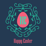 Happy Easter - festive card with monogram style border and egg s Royalty Free Stock Image