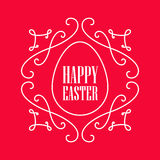 Happy Easter - festive card with monogram style border and egg s Royalty Free Stock Photo