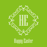 Happy Easter - festive card with monogram style border. Vector i Stock Images