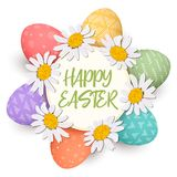 Happy Easter. Festive colorful easter eggs in circle with daisy heads. isolated. colorful eggs and wreath. Happy Easter. Festive colorful easter eggs in circle Royalty Free Stock Photo