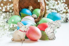 Happy easter! Festive composition with colored eggs, poured out stock image