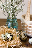 Happy Easter! Festive composition with Easter eggs on wooden background. Royalty Free Stock Photo