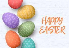 Happy Easter. Festive easter white wooden background. Easter colorful eggs in vertical line. With simple ornaments. vector illustration. Postcard template Royalty Free Stock Photography