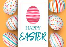 Happy Easter. Festive easter golden background. Easter colorful eggs in vertical line with elegant ornaments and label. Hand font  illustration. template Stock Photography