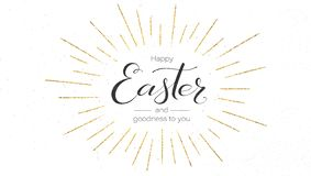 Happy Easter Festive Greeting Card. Design Of Calligraphy Lettering. Vintage Handwritten Text With Golden Glittering Stock Images