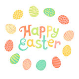 Happy Easter festive inscription and painted eggs in style of cartoon. Vector illustration Stock Photography