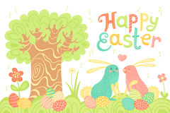 Happy Easter festive postcard with rabbits painted eggs on a meadow. Vector illustration Royalty Free Stock Image