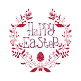 Happy Easter festive poster with decorative elements, quotes Royalty Free Stock Image