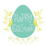 Happy Easter festive poster with floral decorative elements, quo Royalty Free Stock Photos