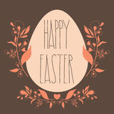 Happy Easter festive poster with floral decorative ornament, quo Stock Image
