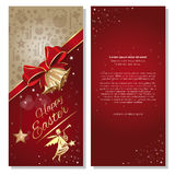 Happy Easter. Festive red background with ribbon, bow, angel and jingle bells Royalty Free Stock Image