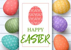 Happy Easter. Festive easter white wooden background. Easter colorful eggs in horisontal line with elegant ornaments. Happy Easter. Festive easter white wooden Royalty Free Stock Photography