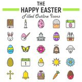 Happy Easter filled outline icon set, holiday sign. Happy Easter filled outline icon set, holiday symbols collection, vector sketches, logo illustrations Royalty Free Stock Photography