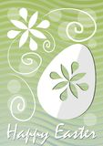 Happy Easter fine green wavy background with easter egg paper cut and white floral motif. Template for postcard Stock Photo