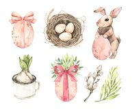 Free Happy Easter. First Flower, Nest With Eggs And Bunny And Greenery. Spring Mood. Watercolor Botanical Illustrations. Perfect For Stock Images - 170007984