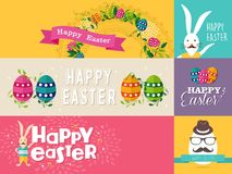 Happy Easter flat design banners set Royalty Free Stock Images