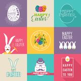 Happy Easter flat design labels set Stock Image