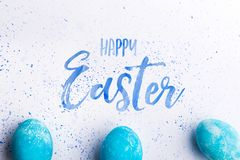 Happy Easter flat lay on a white background. stock photo