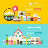 Happy Easter Flat Website Banners Set Royalty Free Stock Photo