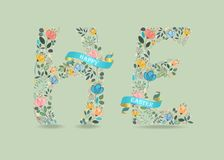 Happy Easter. Floral Letters with blue Ribbons stock photography