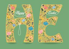Happy Easter. Floral Letters H and E with Collars royalty free stock photography