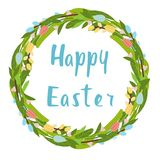 Happy easter flower wreath with tulips and calligrapy vector illustration