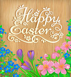 Happy Easter flowers wooden banner Royalty Free Stock Photography