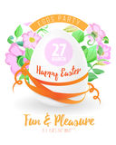 Happy easter flyer or poster background illustration with easter egg, flowers, ribbons and font. Stock Photos