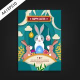 Happy easter flyer template. paper cut design vector illustration